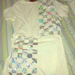 Two piece skirt set, metallic design